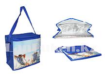 Сумка холодильник 34*29*16 см (термосумка)  синяя с пляжным принтом