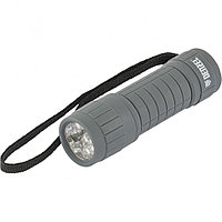 Фонарь светодиодный, серый корпус с мягким покрытием, 9 Led, 3хААА Denzel 92612