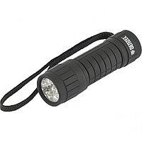 Фонарь светодиодный, черный корпус с мягким покрытием, 9 Led, 3хААА Denzell 92610