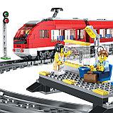 Конструктор LELE Cities Красный пассажирский поезд 28032 (Аналог LEGO City 7938) 763 дет, фото 5