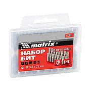 Набор бит PH2 x 25 мм, сталь 45Х, 20 шт., пластиковый бокс Matrix 11352