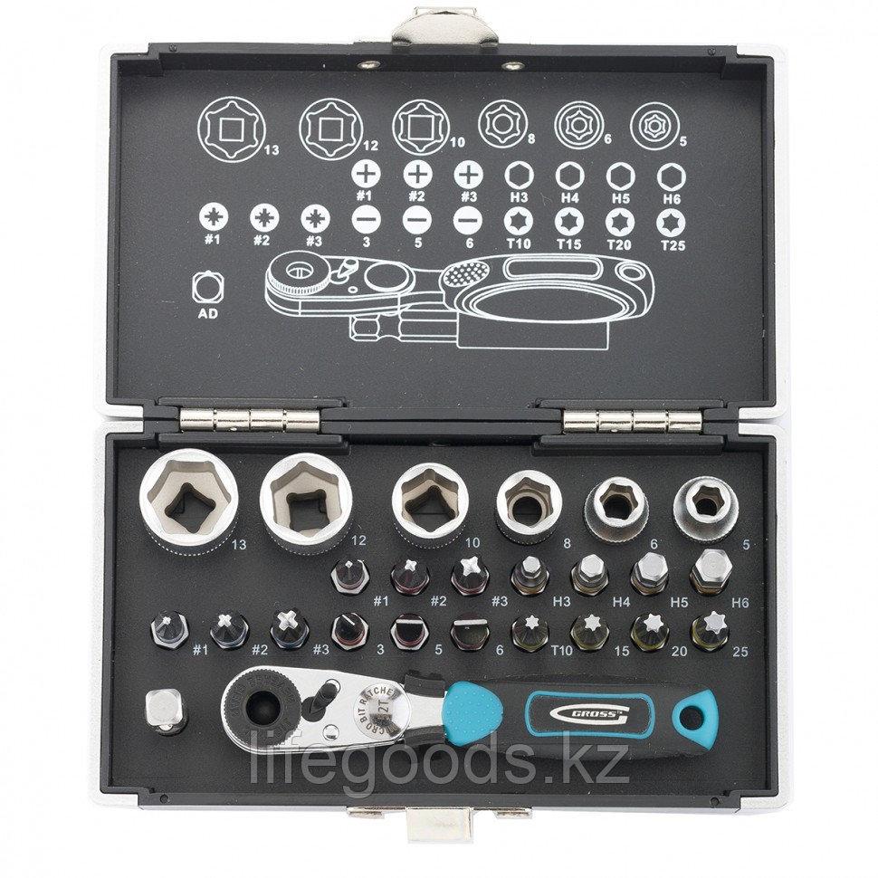 Набор бит и головок торцевых, 1/4, магнитный адаптер, сталь S2, пластиковый кейс, 26 предметов Gross 11361