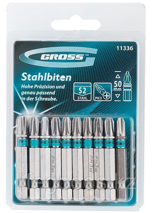Набор бит РН3 х 50, сталь S2, 10 шт. Gross 11336