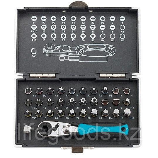 Набор бит, 1/4, магнитный адаптер, сталь S2, пластиковый кейс, 33 предмета Gross 11365