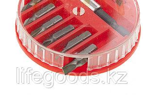 Набор бит, магнитный адаптер для бит, сталь 45Х, 7 предметов, пластиковый кейс Matrix 11392, фото 2