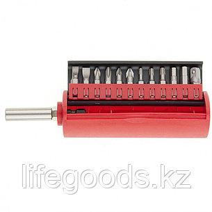 Набор бит, сталь S2, 12 шт., встроенный магнитный адаптер, пластиковый кейс Matrix Master 11314, фото 2