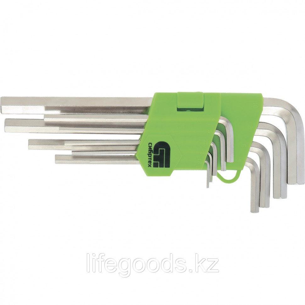 Набор ключей имбусовых HEX, 1,5-10 мм, 45x, закаленные, 9 шт, удлиненные, никель Сибртех 12318