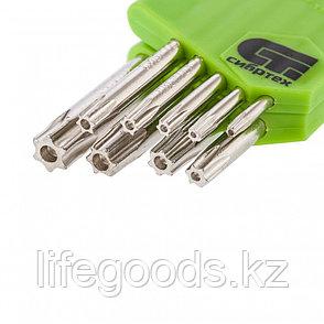Набор ключей имбусовых Tamper-Torx, 9 шт: ТT10-ТT50,45x, закаленные, короткие, никель Сибртех 12321, фото 2