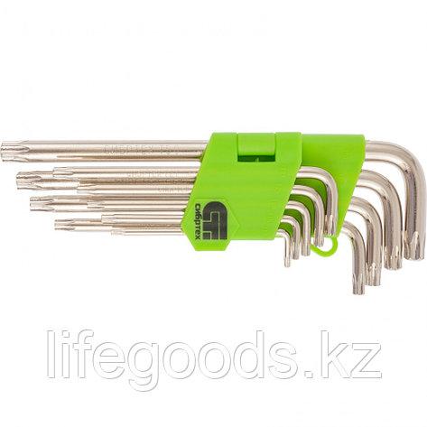 Набор ключей имбусовых Tamper-Torx, 9 шт: ТТ10-ТТ50,45x, закаленные, удлиненные, никель Сибртех 12322, фото 2