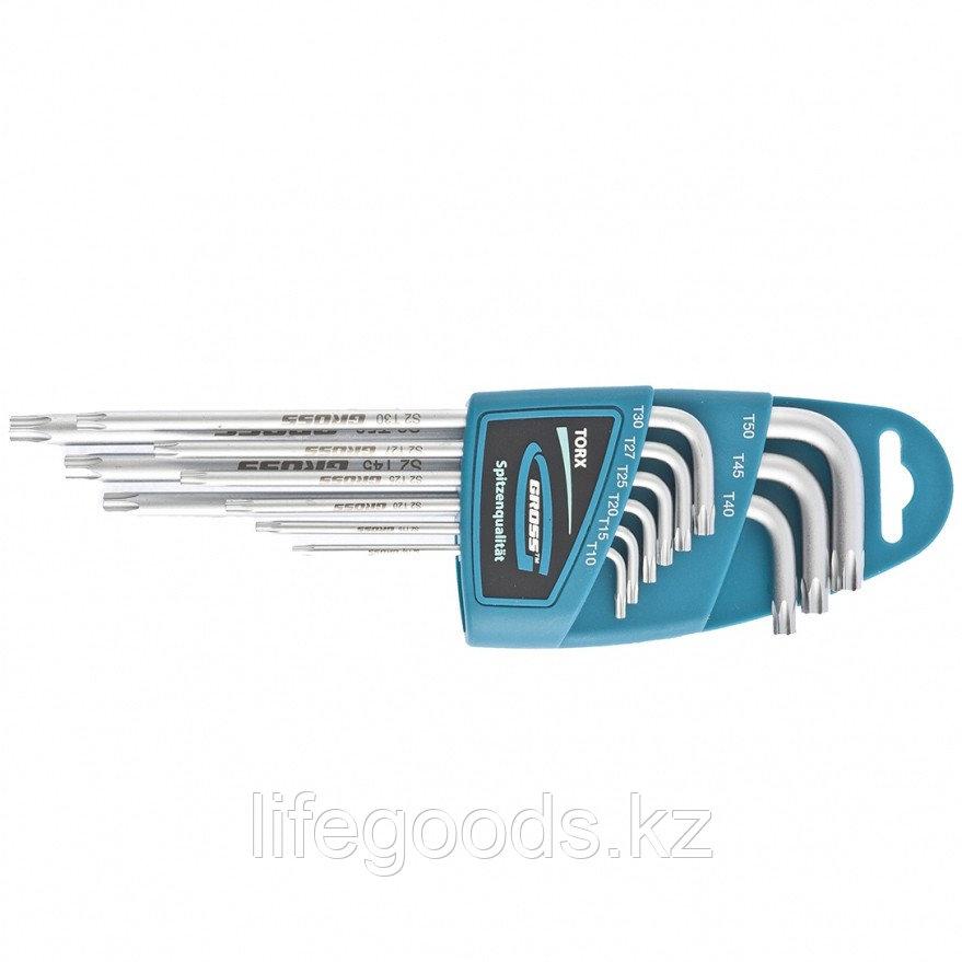 Набор ключей имбусовых TORX-TT, 9 шт: T10-T50, экстра-длинные, S2, сатинированные Gross 16408