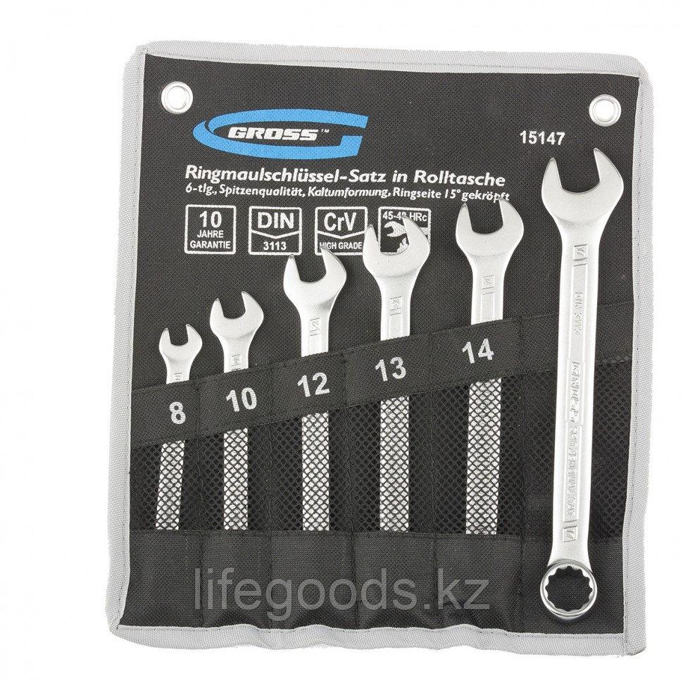Набор ключей комбинированных 8-17 мм, 6 шт, CrV, холодный штамп Gross 15147