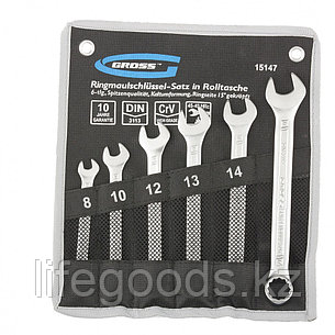 Набор ключей комбинированных 8-17 мм, 6 шт, CrV, холодный штамп Gross 15147, фото 2