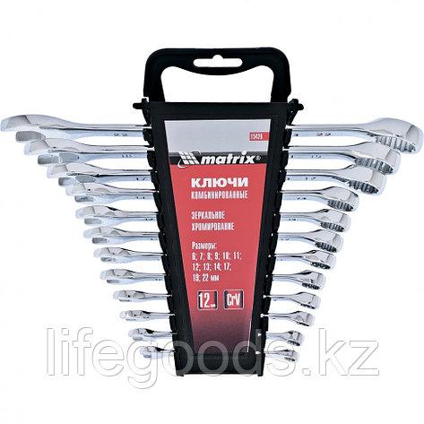 Набор ключей комбинированных, 6-22 мм, 12 шт, CrV, полированный хром Matrix 15426, фото 2