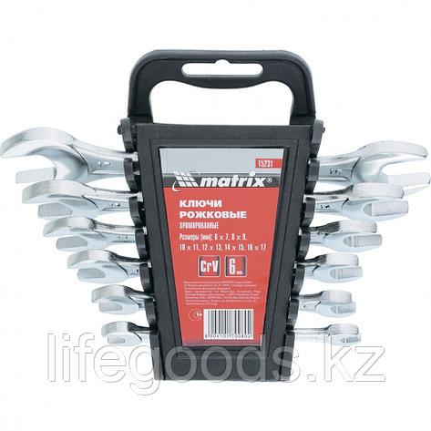 Набор ключей рожковых, 6 -17 мм, 6 шт, CrV, хромированные Matrix 15231, фото 2