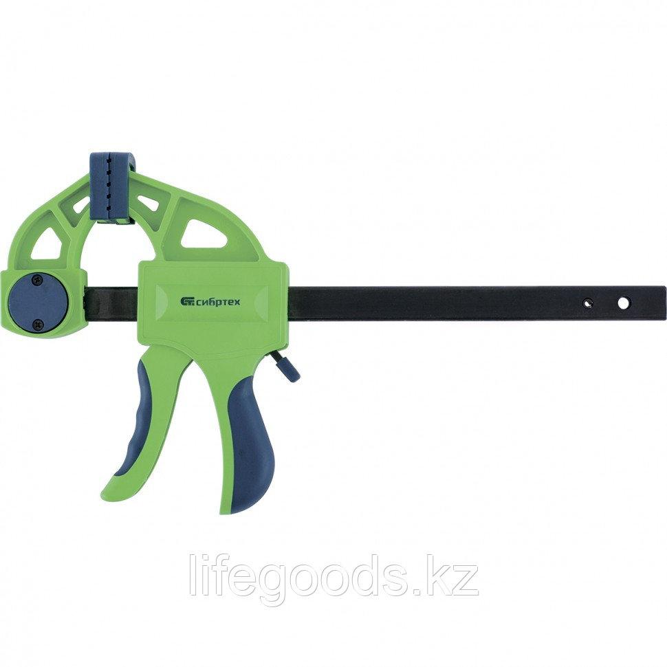 Струбцина F-образная, быстрозажимная, 450 х 70 х 660 мм, пластиковый корпус, фиксатор, двухкомпонентная рукоятка Сибртех