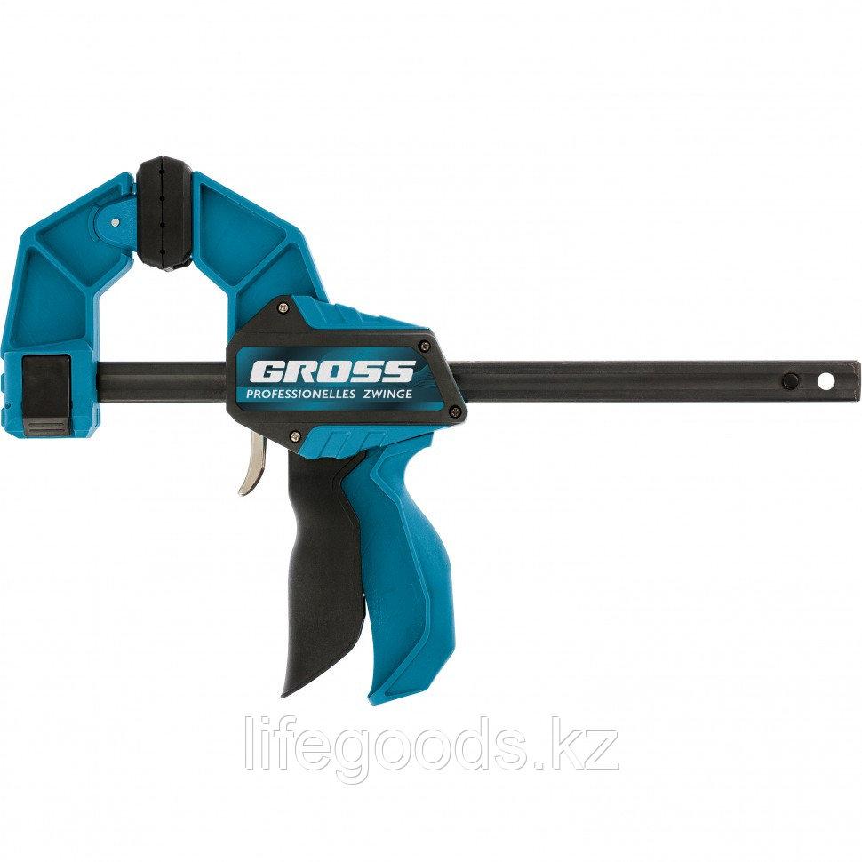 Струбцина реечная, быстрозажимная, пистолетного типа, пошаговый механизм, пластиковый корпус, 150 мм Gross