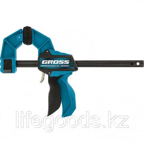 Струбцина реечная, быстрозажимная, пистолетного типа, пошаговый механизм, пластиковый корпус, 600мм Gross, фото 2