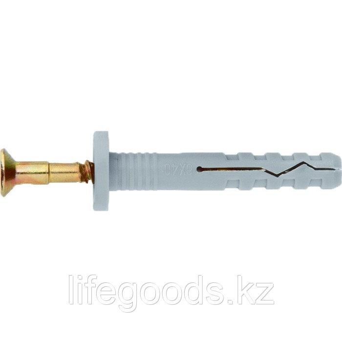Дюбель-гвоздь полипропиленовый с цилиндрическим бортиком 6 х 40 мм, 200 шт Сибртех 42142