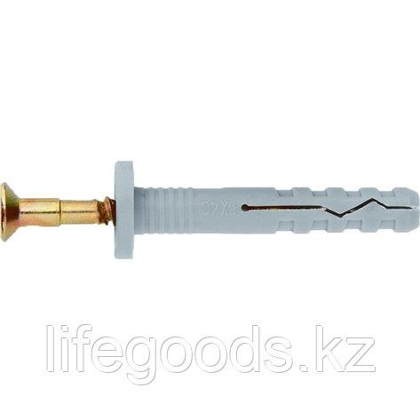 Дюбель-гвоздь полипропиленовый с цилиндрическим бортиком 6 х 80 мм, 100 шт Сибртех 42146, фото 2