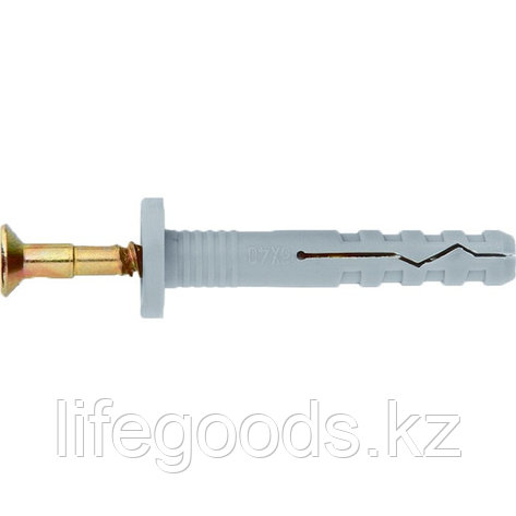 Дюбель-гвоздь полипропиленовый с цилиндрическим бортиком 8 х 80 мм, 100 шт Сибртех, фото 2