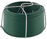 Проволока с ПВХ покрытием, зеленая 0,9 мм, Длинa 50 м Сибртех