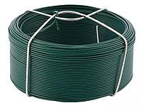 Проволока с ПВХ покрытием, зеленая 1,2 мм, Длинa 50 м Сибртех