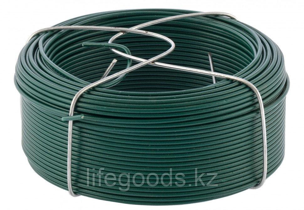 Проволока с ПВХ покрытием, зеленая 1,5 мм, Длинa 50 м Сибртех 47772