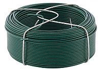 Проволока с ПВХ покрытием, зеленая 1,5 мм, Длинa 50 м Сибртех