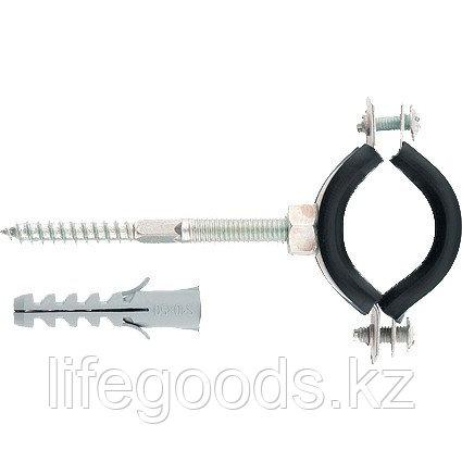Хомут сантехнический для труб 1, 1/2, 48-53 мм с резиновым уплотнением, шпилькой и дюбелем, 1 шт Сибртех, фото 2
