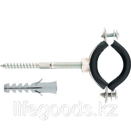 Хомут сантехнический для труб 2, 59-66 мм с резиновым уплотнением, шпилькой и дюбелем, 1 шт Сибртех 48169, фото 2
