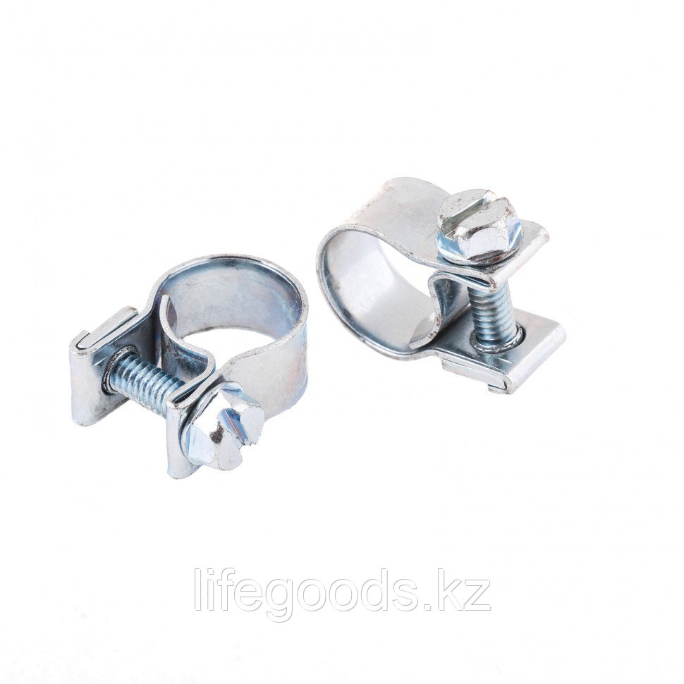 Хомуты металлические, MINI 10-12 мм, Ширинa 9 мм, винтовой, W1, 2 шт Сибртех 47503