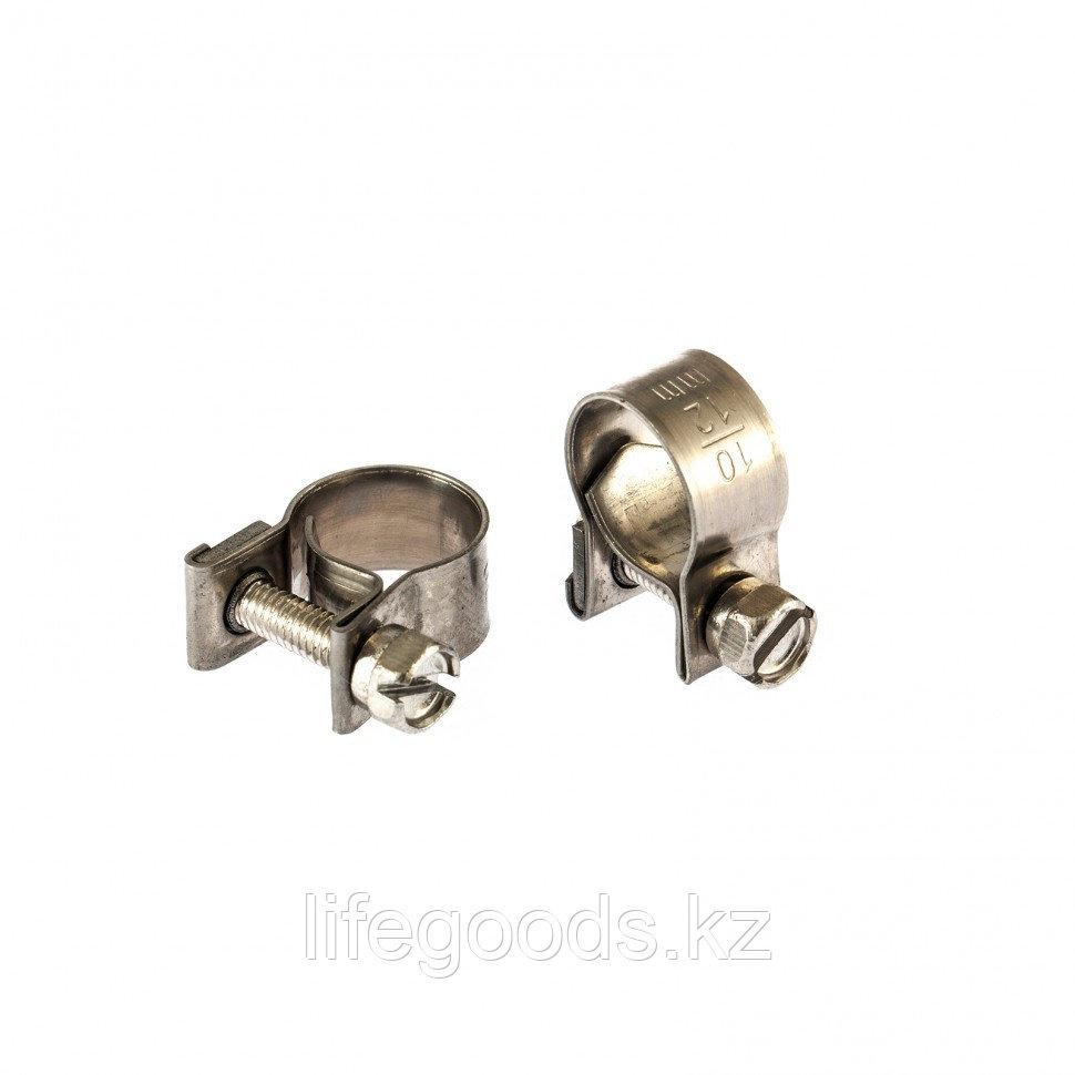 Хомуты металлические, MINI 10-12 мм, Ширинa 9 мм, винтовой, W4, 2 шт Сибртех 475033