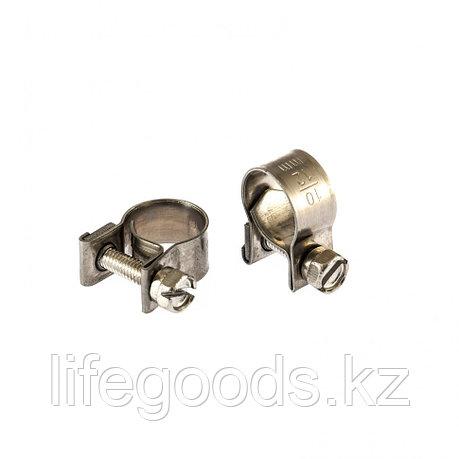 Хомуты металлические, MINI 10-12 мм, Ширинa 9 мм, винтовой, W4, 2 шт Сибртех 475033, фото 2