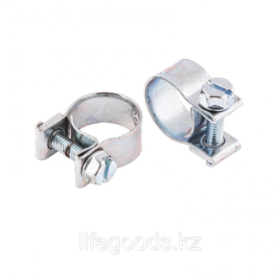 Хомуты металлические, MINI 12-14 мм, Ширинa 9 мм, винтовой, W1, 2 шт Сибртех 47504