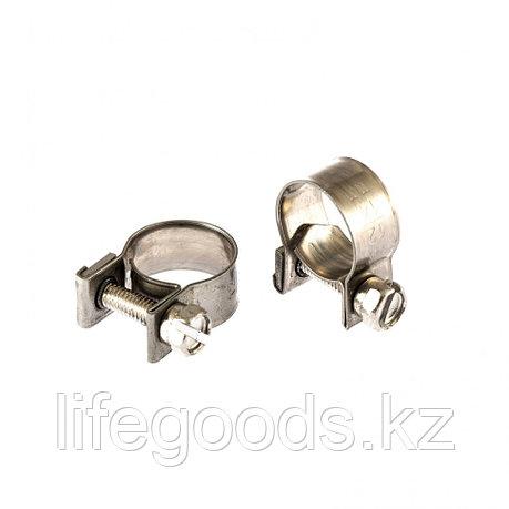 Хомуты металлические, MINI 12-14 мм, Ширинa 9 мм, винтовой, W4, 2 шт Сибртех 475043, фото 2