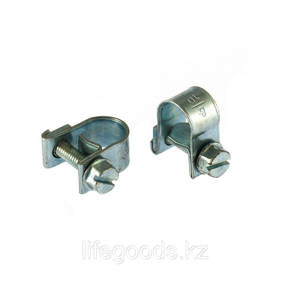 Хомуты металлические, MINI 8-10 мм, Ширинa 9 мм,  винтовой, W1, 2 шт Сибртех 47501
