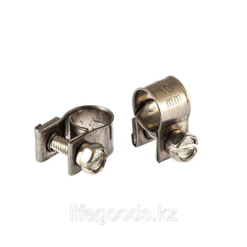 Хомуты металлические, MINI 8-10 мм, Ширинa 9 мм,  винтовой, W4, 2 шт Сибртех 475013