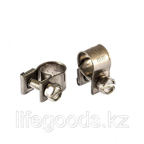 Хомуты металлические, MINI 8-10 мм, Ширинa 9 мм,  винтовой, W4, 2 шт Сибртех 475013, фото 2
