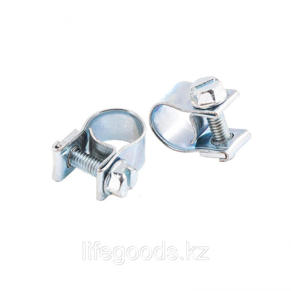 Хомуты металлические, MINI 9-11 мм, Ширинa 9 мм,  винтовой, W1, 2 шт Сибртех 47502