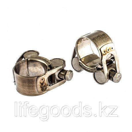 Хомуты металлические, силовые 23-25 мм, Ширинa 18 мм, шарнирный, W4, 2 шт Сибртех 475083, фото 2