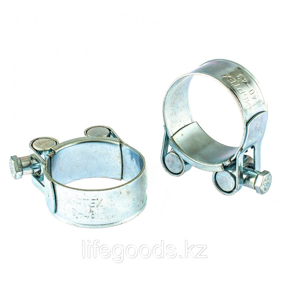 Хомуты металлические, силовые 40-43 мм, Ширинa 20 мм, шарнирный, W1, 2 шт Сибртех