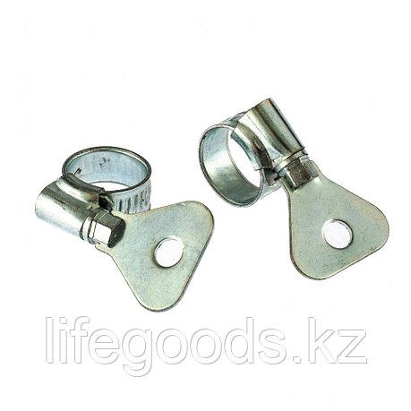 Хомуты металлические, червячные 10-16 мм, Ширинa 10 мм, W1, с металлическим ключом, 2 шт Сибртех, фото 2