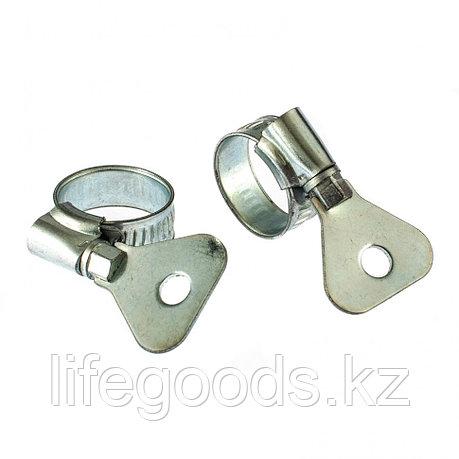 Хомуты металлические, червячные 12-20 мм, Ширинa 10 мм, W1, с металлическим ключом, 2 шт Сибртех 476497, фото 2