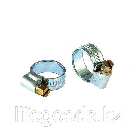 Хомуты металлические, червячные 12-20 мм, Ширинa 10 мм, английский тип, W1, 2 шт Сибртех 47665, фото 2