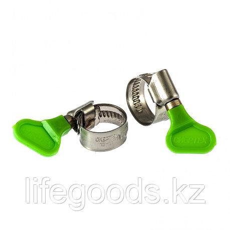 Хомуты металлические, червячные 12-20 мм, Ширинa 12 мм, W4, с ключом, 2 шт Сибртех 476493, фото 2