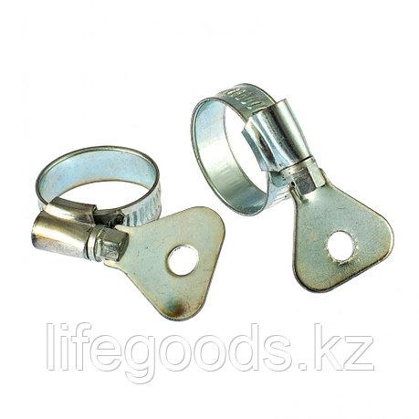 Хомуты металлические, червячные 16-25 мм, Ширинa 10 мм, W1, с металлическим ключом, 2 шт Сибртех 476507, фото 2