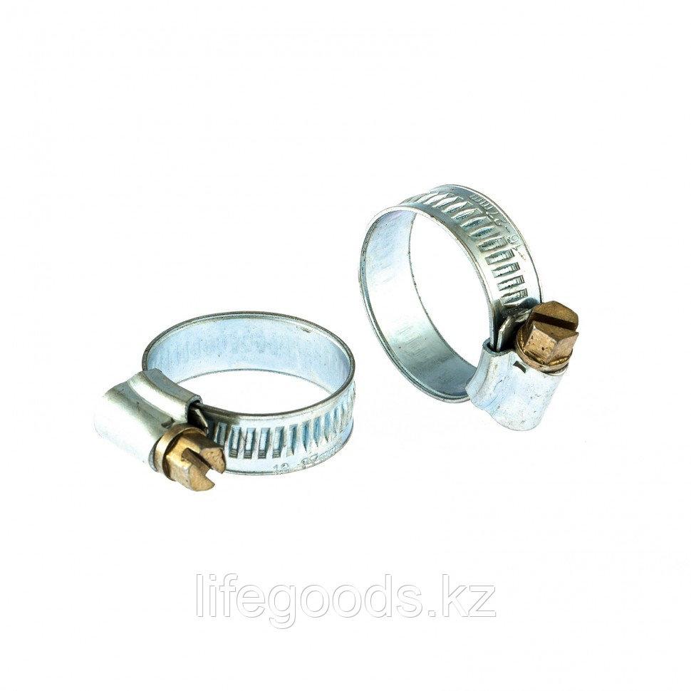 Хомуты металлические, червячные 16-27 мм, Ширинa 12 мм, английский тип, W1, 2 шт Сибртех 47666