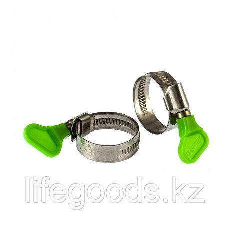Хомуты металлические, червячные 20-35 мм, Ширинa 12 мм, W4, с ключом, 2 шт Сибртех 476523, фото 2