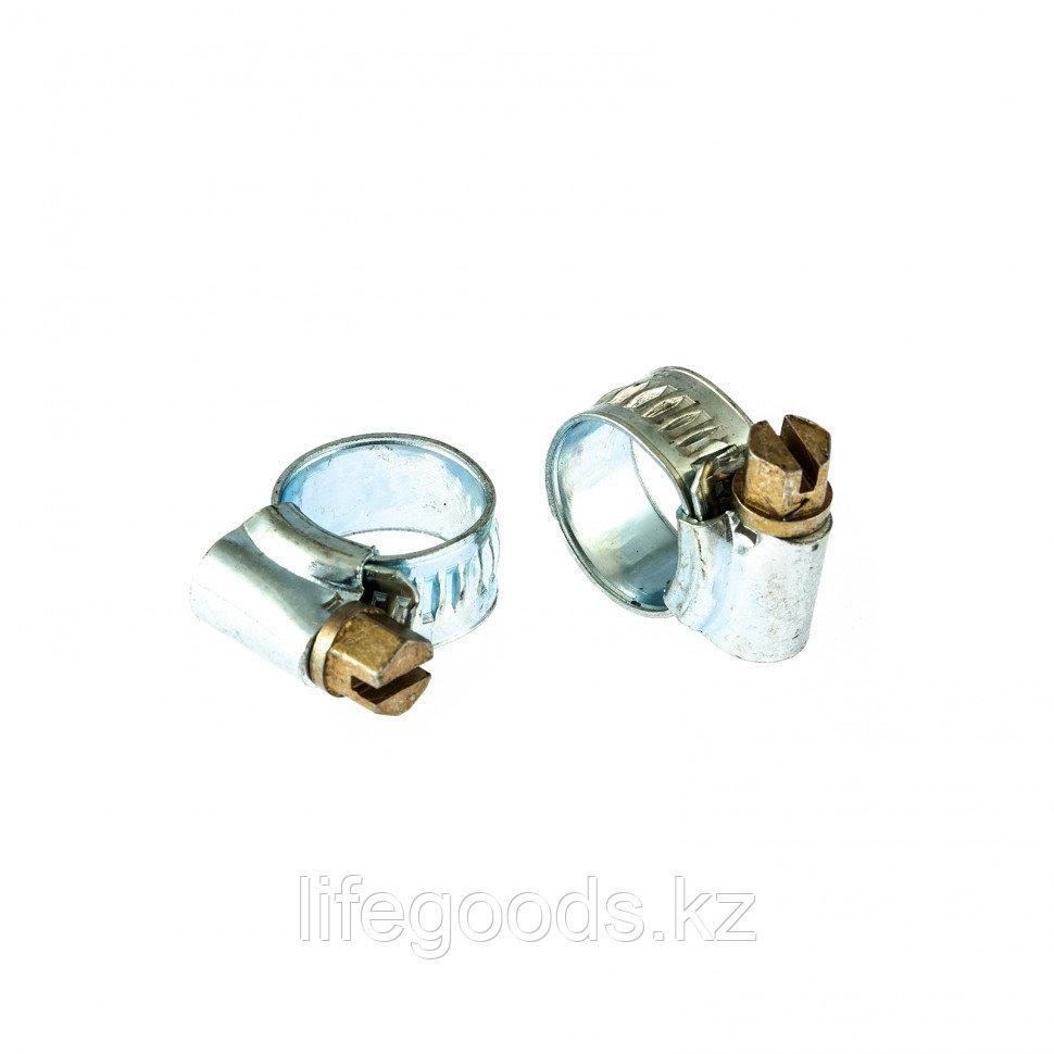 Хомуты металлические, червячные 8-12 мм,  Ширинa 10 мм, английский тип, W1, 2 шт Сибртех 47663