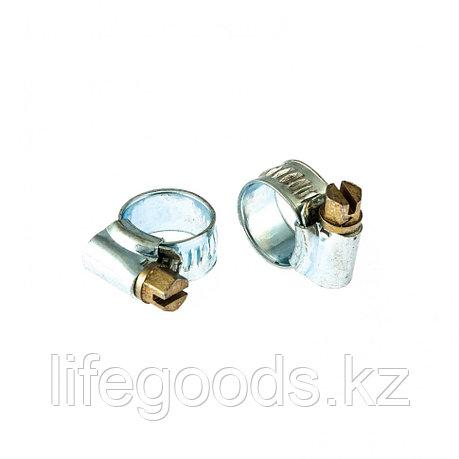 Хомуты металлические, червячные 8-12 мм,  Ширинa 10 мм, английский тип, W1, 2 шт Сибртех 47663, фото 2
